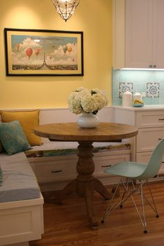 Summery kitchen - aqua / turquoise and yellow kitchen with banquette benches