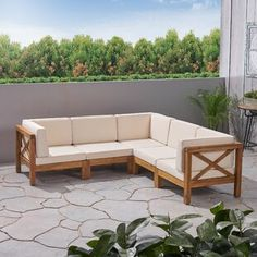 Highland Dunes Ansel Outdoor 5 Piece Sectional Seating Group with Cushion Frame Colour / Cushion Colour: Teak Frame / Beige Cushion Pergola Patio, Backyard, Patio Loveseat, Outdoor Sectional, Sectional Sofa, Outdoor Furniture Plans, Porch Furniture, Beige Cushions, Patio