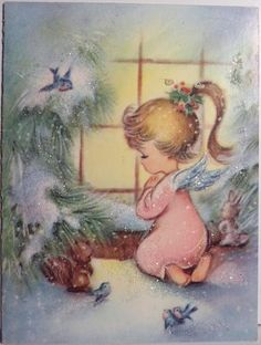 Angel in The Window Vintage Christmas Card