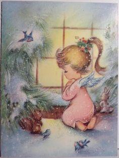 Angel in The Window Vintage Christmas Card