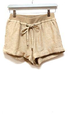 Warmer Weather Cuffed Linen Blend Shorts, Taupe - Conversation Pieces