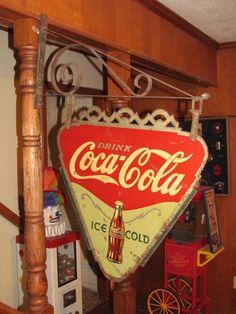 Vintage 1935 Coca Cola 2 Sided Advertising Coke Sign Original Bracket RARE | eBay