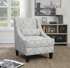 Grey and white jacquard patterned upholstery accent chair. #accentchair #chair #Coaster #Coastercompany #CoasterFurniture