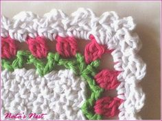 Natas Nest: Doily/Washcloth with Tulips Border – Deckchen/Waschlappen mit Tulpenbordüre