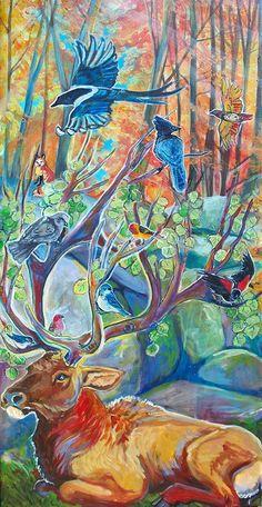 24 x 48 inches acrylic on canvas  - Forest Spirit. SOLD https://www.etsy.com/shop/JupiterJennyArts