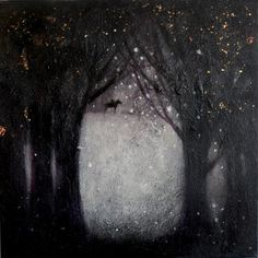 """""""The woods are lovely, dark and deep"""" giclee print  This painting was inspired by Robert Frost's iconic poem """"Stopping by woods on a snowy evening""""."""
