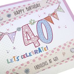 Handmade Luxury Birthday Card Gold Shimmer Embossed Polka Dot Bunting Sparkling Crystals - 'Fabulous at 40'