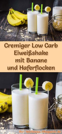 Eiweißshake mit Banane selber machen – ein gesundes Low-Carb-Diät-Rezept für … Making a protein shake with banana – a healthy low carb diet recipe for breakfast smoothies and protein shakes to lose weight – without added sugar, low in calories, healthy … Low Carb Shakes, Protein Shakes, Low Carb Smoothies, Breakfast Smoothies, Low Carb Protein, Low Carb Diet, Protein Recipes, Law Carb, Menu Dieta