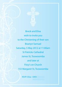 $18 - File sent to print as many as you like from your home printer or favourite photo store. Baby Christening Invite - Cross BC-025