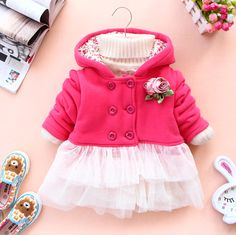Baby Girl Newborn Winter Hoodies Ruffles Lace Coat Jacket ...  [For Pandora]