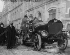 Fire Chief Inspect New Motor Fire Engine 8x10 Reprint Of Old Photo