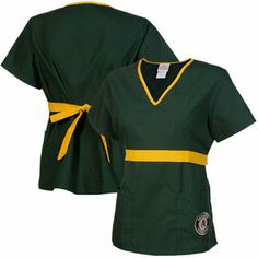 Oakland Athletics MLB Solid Wrap Scrub Top With Pockets - Green/Gold
