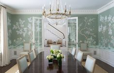 New Canaan, CT, Dining Room with custom Gracie wallpaper by Elena Phillips Interiors Dining Room Blue, Elegant Dining Room, Dining Room Design, Gracie Wallpaper, Of Wallpaper, Wallpaper Panels, Scenic Wallpaper, Chinoiserie Wallpaper, Rooms Ideas