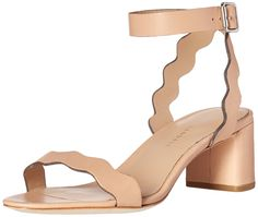 LOEFFLER RANDALL Women's Emi Dress Sandal, Wheat, 7.5 M US. Signature scallop block heel sandal.