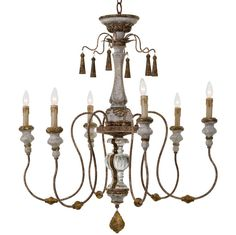 Adelia French Country Distressed Rustic 6 Light Chandelier | Kathy Kuo Home