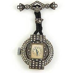 Antique-Art-Deco-Sterling-Marcasite-Lapel-Pin-Watch