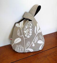 Japanese Knot Bag in Linen - Banksia Design by PalumaPrint