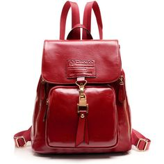 LUCLUC Burgundy Leather Zipper Backpacks (225 RON) ❤ liked on Polyvore featuring bags, backpacks, red bag, red leather bag, day pack backpack, zipper backpack and red leather backpack