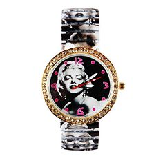 Womens Fashion Marilyn Monroe with Rhinestone pattern Style Metal Spring Band Wrist Watch * Visit the image link more details.