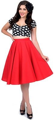 1950s Style Red Paula Swing Skirt
