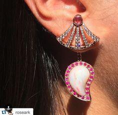 RoseArk styles Sumerian earring with Ishq drop