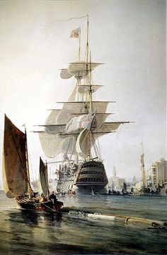 "cc  ""'HMS Britannia' Entering Portsmouth,"" by George Hyde Chambers."