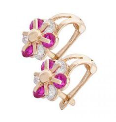 Kolczyki złote kwiatki z cyrkoniami białymi i czerwonymi #PamiatkaChrztu #PrezentNaChrzciny #KolczykiDlaDziewczynki Gold Rings, Rose Gold, Jewelry, Jewlery, Jewerly, Schmuck, Jewels, Jewelery, Fine Jewelry