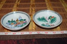 Two Asian Porcelain Small Decorative Gold Rim Asian Pagoda Scene Dipping Bowls