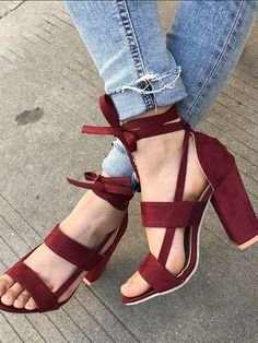 While Supplies Last Burgundy Strap Detail Heeled Sandals #elegantshoegirl #shoes #ankle  #boots #flats #fashions #womens