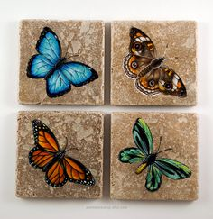 Butterflies Hand Painted Acrylic Natural Stone Coaster Set of 4