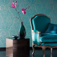 Harlequin    Venezia Wallpaper - Gilver/Turquoise 25625