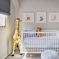 Studio Gild - nurseries - Baby Zebra Little Darling, Melissa and Doug Plush Giraffe, Babyletto Hudson Crib, contemporary nursery, accent wal...