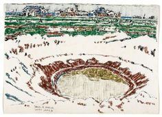 David Milne (Canadian, Bomb Crater behind Vimy Station, 6 June Watercolour over graphite on wove paper, x cm. David Milne, Watercolor Techniques, Tapestry, World, Gallery, Illustration, Painting, Inspiration, Image
