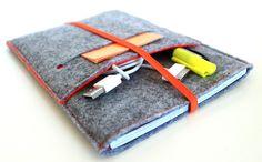 iPad Mini Sleeve/ Mini iPad / iPad Mini Case- Orange and Light Grey felt. $36.00, via Etsy.