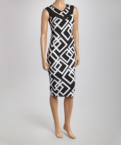 This Black & White Geometric Scoop Neck Dress is perfect! #zulilyfinds