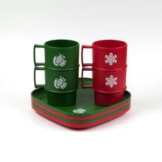 Vintage Tupperware Christmas Mug And Plate Set