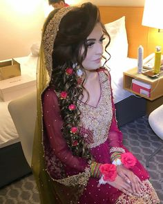 Real bride wearing silk florals created by Pakistani Bridal Hairstyles, Asian Wedding Dress Pakistani, Bridal Hairstyle Indian Wedding, Pakistani Bridal Makeup, Indian Bridal Fashion, Pakistani Couture, Bridal Mehndi Dresses, Desi Wedding Dresses, Bridal Dress Design