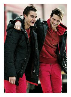 Czech Model Tomas Skoloudik at D'management Group in Milan and DNA Models in NYC, and Swiss Model Laurin Krausz at Independent Men in Milano, by Armani Jeans Fall Winter 2013-2014 catalogue.