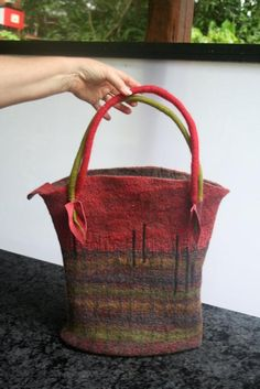 Felted bag made at a class given by Myfanwy Stirlings via Wendy Bailye's site.