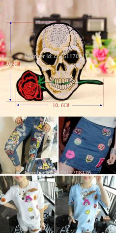 [Visit to Buy] Free shipping! On sale! 1PC Rose Skull Embroidered Iron On Patches For Jacket Cross Bones Pirate Flag Applique DIY Accessory A05 #Advertisement