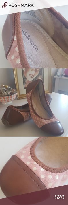 ⚠️ON SALE⚠️G.H. Bass&Co. Ballet Flats slip ons One new, unworn pair of G.H. Bass&Co. Flats/slip ons. Pink polka dot with brown leather heels and toes. I've never worn flats and bought these on a whim but they're just not my style. Please feel free to message me with any questions or for more pics!  Please note: there appears to be some discoloration on the leather where the sole meets the heel. This is pictured in above photos. G.H. Bass&Co. Shoes Flats & Loafers