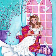 Cartita Design © 2014 - 45x45 - Acrylic on Paper. #Illustrations #greeting cards #communion #invitation #girl