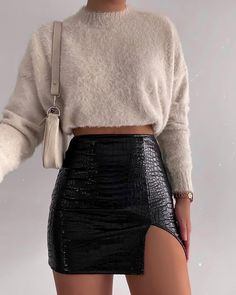 Wren Mini Skirt in PU Croco Black by Motel – motelrocks-com-aus Cute Casual Outfits, Chic Outfits, Fall Outfits, Summer Skirt Outfits, Cute Outfits With Skirts, Black Skirt Outfits, Black Skirts, Look Fashion, Fashion Clothes