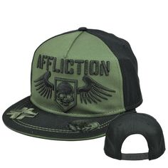 cheaper a30f2 add70 Affliction Fashion Clothing Live Fast Skull Wings Snapback Flat Bill Hat Cap