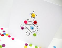 Christmas Card - Christmas Tree with Button Baubles - Paper Handmade Greeting Card - Holiday Card - Etsy UK Weihnachtskarte - . Button Christmas Cards, Christmas Card Packs, Christmas Makes, Christmas Fun, Christmas Decorations, Holiday Pack, Winter Holiday, Handmade Greetings, Greeting Cards Handmade