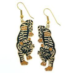 Gold Plated Tiger Cloisanne Earrings - 43mm Length - - Black - Fishhook Backing