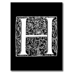 """Vintages Monogramm-Schwarz-weiße """"h-"""" Initialen Postkarte"""