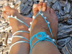 TurQuoise Beach Wedding Sandals with pearls Crochet by Kreacje