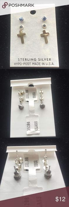 Sterling silver earrings three pack Beautiful trio of earrings. All earrings are in Sterling silver and made with Australian crystal. Never worn Jewelry Earrings