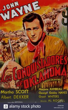 """Stock Photo - Old Spanish film poster of """"In Old Oklahoma"""" a 1943 American Western film starring John Wayne Western Film, Old Western Movies, Western Hats, Oklahoma, Iowa, Old Movies, Vintage Movies, Indie Movies, John Wayne Movies"""